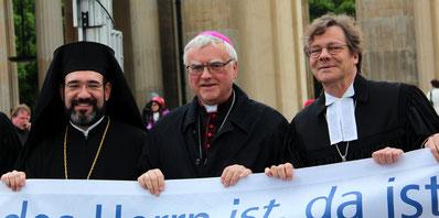 Christliche Ökumene: Vertreter der griechisch-orthodoxen, der kath. und ev. Kirche in Berlin 2016. Foto: Helga Karl