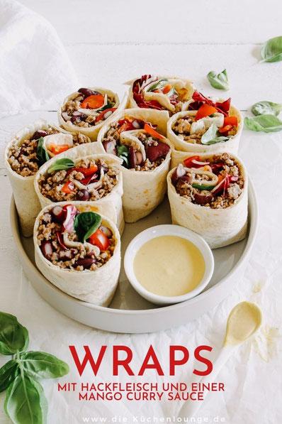 Wraps mit Hackfleisch und einer Mango Curry Sauce