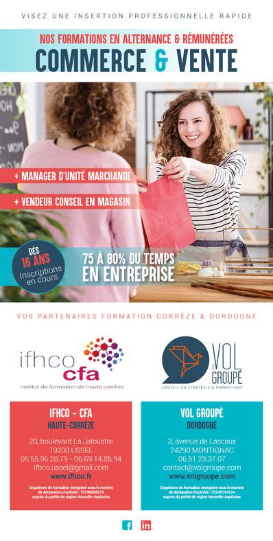 Flyer de présentation des titres professionnels de vendeur en magasin et manager d'unité marchande pour la Dordogne et la Corrèze