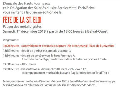 Auszug aus der Einladung mit Direkt-Link zur Seite der Amicale des Hauts Fourneaux.