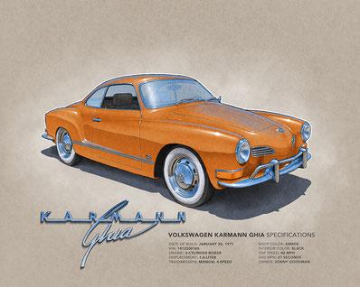 "1970 VW Karmann Ghia drawing, 1971 VW Karmann Ghia drawing, 1972 VW Karmann Ghia drawing,  (16""X20"")"