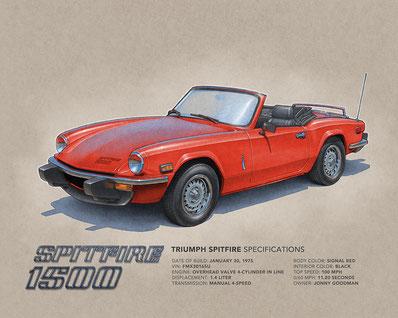 "1975 Triumph Spitfire 1500 drawing, 1976 Triumph Spitfire 1500 drawing, 1977 Triumph Spitfire 1500 drawing, 197 Triumph Spitfire 1500 drawing  (16""X20"")"