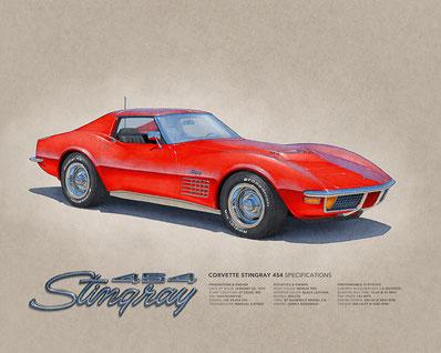 "1958 Corvette drawing (16""X20"")"
