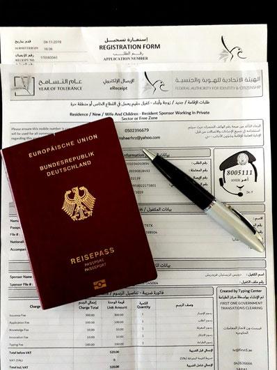 Dokumente für die Beantragung des Residence Visa