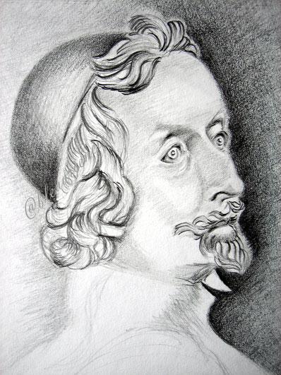 2002 Portrait au crayon HB sur feuille 24/32 cm d' après le buste de Richelieu