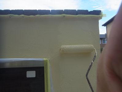 塀塗装 中塗り ビュークリーンDX 熊本Y様邸