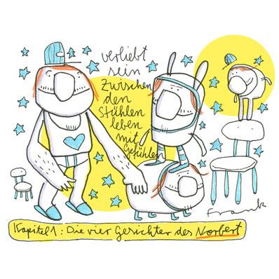 Zeichnung eines Mannes in Unterhose, im Hasenkostüm, zwischen den Stühlen, von Frank Schulz Art, Berlin.