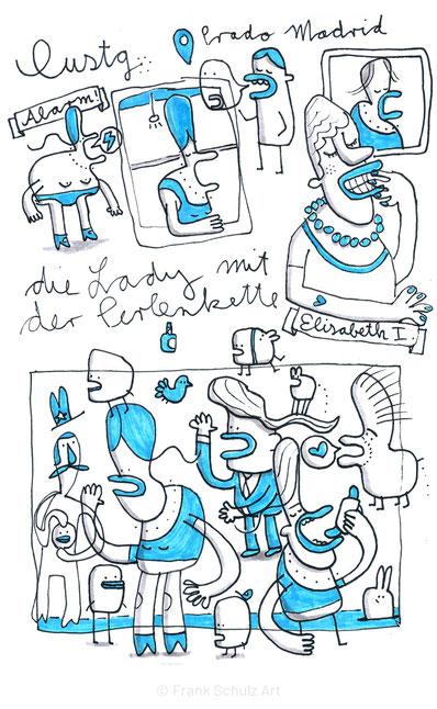 Tuschezeichnung von Damen mit Perlenketten, Skizze mit Schwarz und Blau von Frank Schulz Art Berlin.