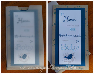 Babykarte mit Swirly Bird von Stampin´Up! in jeansblau - Patricia Stich 2016