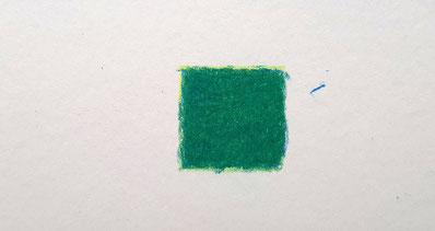 Exemple d'un mélange de jaune et bleu aux crayons de couleur