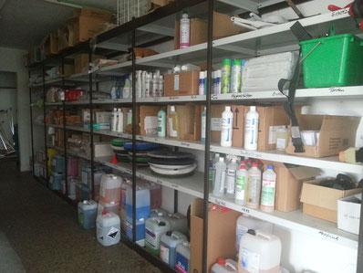 Ausschnitt aus unserem Materiallager für unsere Reinigungsspezialisten