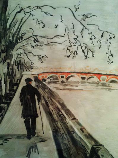 La route est longue - Pastel et encre par Claire Allard, Artiste peintre
