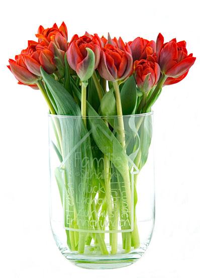 Vase Familie Hauseinweihung Geschenk Richtfest Geschenk personalisiert