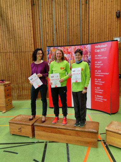 Die Sieger der AK 45. Von links Anja Krebs, Claudia Waidelich und                                             Ingrid Steiner