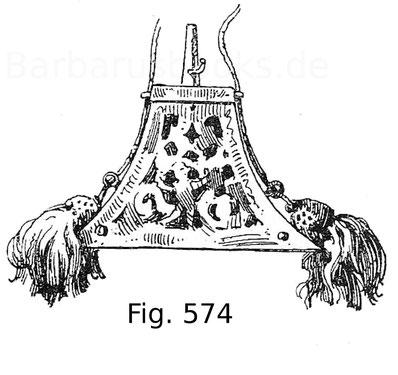 Fig. 573. Musketier-Pulverflasche mit Federsperre, aus durchbrochenem Eisen mit Unterlagen aus gelbem Samt und grünen Quasten. Italienisch. Um 1570.