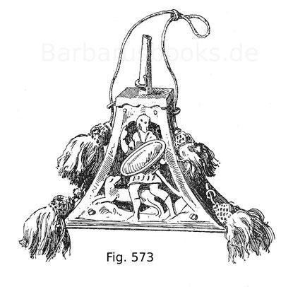 Fig. 574. Flasche für das Zündkraut in gleicher Ausstattung wie Fig. 573.
