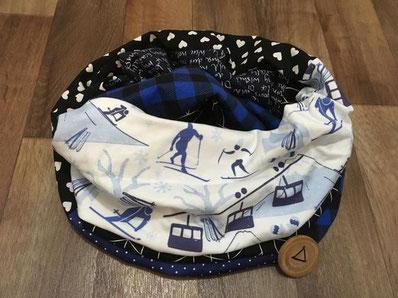 Foulardises, foulard, match, ski, bleu, blanc, noir, hiver