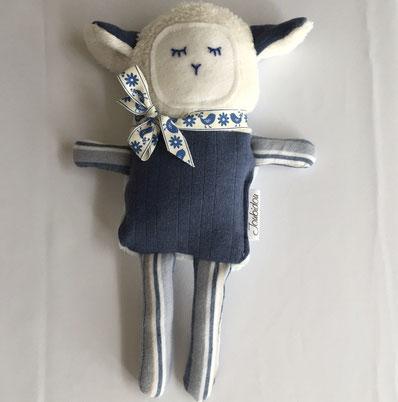 poupée, joubidou, chèvre, doux, bleu, blanc