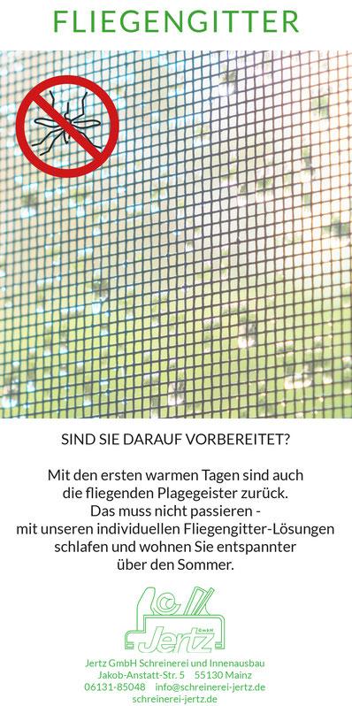 Fliegengitter Insektenschutz Moskitonetz Fenster Türen Sommer Insekten Fliegen Stechmücken Schreinerei Jertz Mainz
