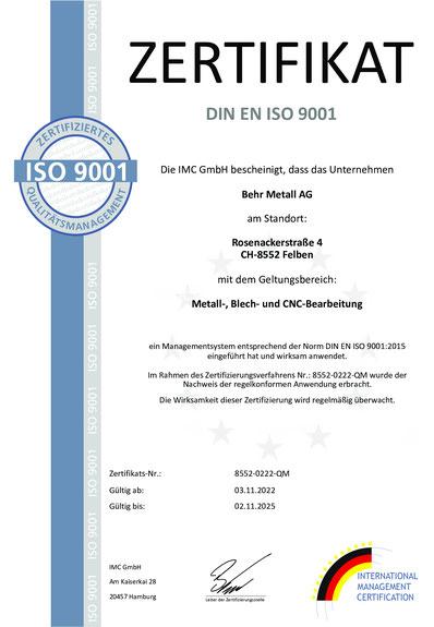 iso 9001 zertifikat dür das Lasern und Blechbearbeitung von rostfeiem Stahl