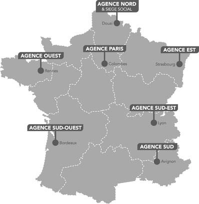 Carte de France des agences INDELEC