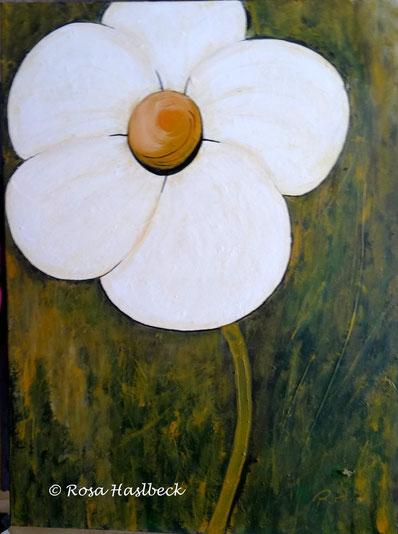 Acrylbild, acryl, blumen, blumenbilder, weiße blume, weiß, grün, kaufen,  orange,bilder, bild, malen, malerei, kunst, deko, dekoration, wandbild, abstrakt