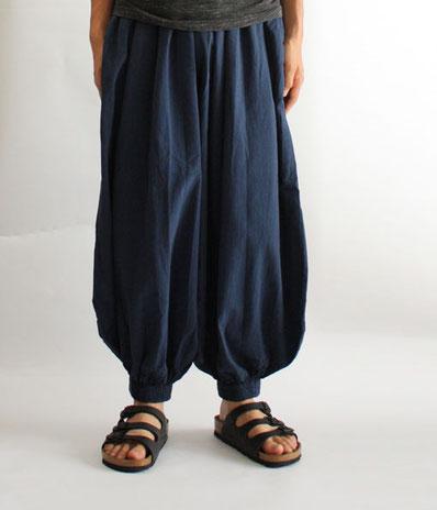 ヂェン先生の日常着 バルーンパンツレギュラー Lサイズ メンズ ネイビー 正面イメージ