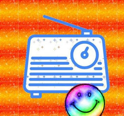 Dieses Bild zeigt ein Transistorradio und ein lachendes Emoji. Das Transistorradio gilt als ein Symbol der Rock'n'Roll Ära.
