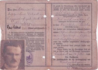 Erlaubnisschein für den Handel mit Lebensmitteln Karl Eckert 1923