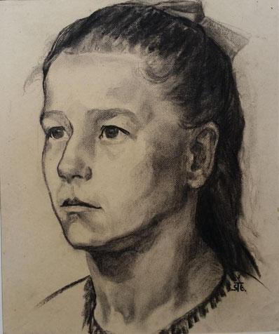 Theodor Steinkühler: Kopfstudie eines Mädchens, Bielefeld 1913