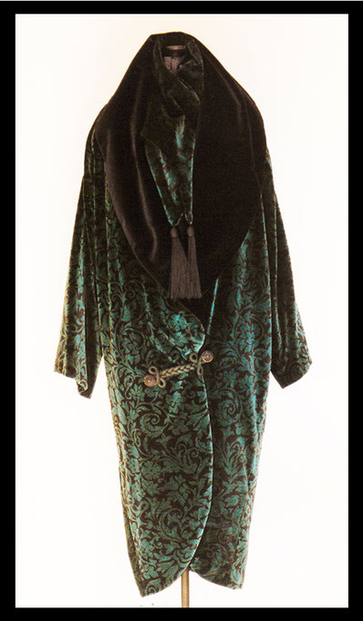 Black and turquoise velvet opera coat designed by Vicki Israel