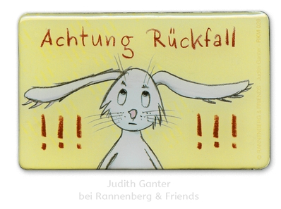 Achtung Rückfall! Hase macht Diät - Judith Ganter bei Rannenberg & Friends - Magnete, Kühlschrankmagnete, , Mitbringsel Küche