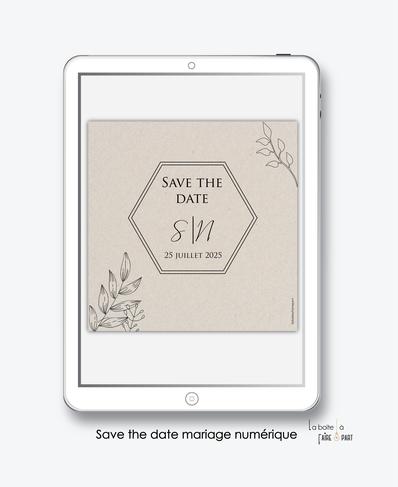 Save the date mariage numérique-Save the date mariage digital-Save the date numérique-pdf numérique-Save the date mariage electronique -Save the date à envoyer par mms-par mail-réseaux sociaux-whatsapp-facebook-messenger-feuillage-kraft