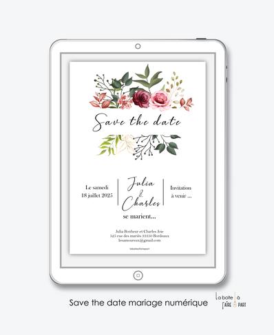 Save the date mariage numérique-Save the date mariage digital-Save the date numérique-pdf numérique-Save the date mariage electronique -Save the date à envoyer par mms-par mail-réseaux sociaux-whatsapp-facebook-messenger-pivoines-fleurs-eucalyptus-rose-