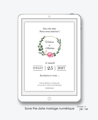 Save the date mariage numérique-Save the date mariage digital-Save the date numérique-pdf numérique-Save the date mariage electronique -Save the date à envoyer par mms-par mail-réseaux sociaux-whatsapp-facebook-messenger-Couronne d'eucalyptus et pivoine