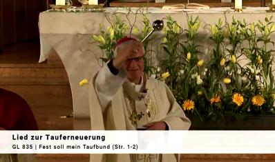 "Screenshot Helga Karl: Live am 11.4.2020 ""Feier der Osternacht"" mit Erzbischof Heiner Koch aus St. Joseph, Berlin-Wedding"