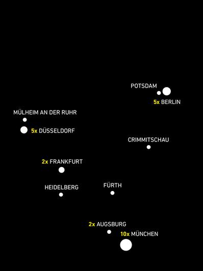 Deutschlandkarte mit den Garagen von Park One