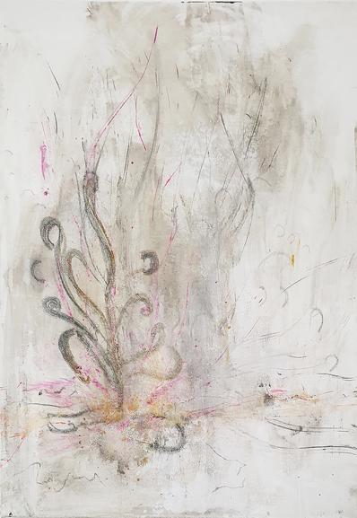 Artigkeit, Claudia Karrasch, Kunst, Malen, Studio Bonn, Abstrakte Malerei, Nature 1, Acry, Kohle, Bleistift, auf Leinwand, 50 X 70 cm