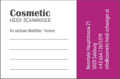Visitenkarte Rückseite, Cosmetic Heidi Schwaiger, Salzburg