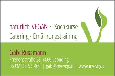 Visitenkarte Rückseite, Gabi Russmann, my Veg