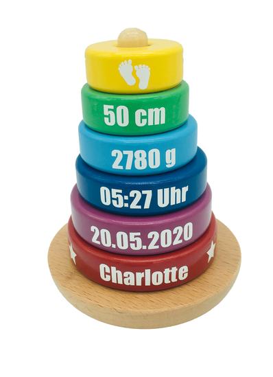Stapelturm mit Geburtsdaten, Stapelturm Geburt, Holzstapelturm