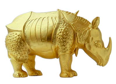 Rhinozeros »Metapheros« nach A. Dürer in Gold