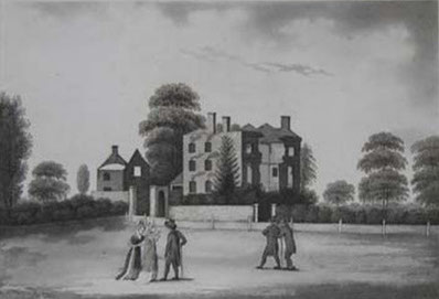 Joseph Priestley's Fair Hill house drawn by P H Witon Jnr after the riots. Image believed to be in the public domain.