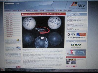 Der Artikel über die Westhagener Pausenliga im Internetauftritt des Deutschen Volleyball Verbandes