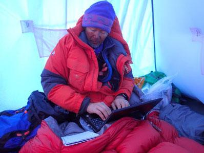 零下10度のボツヌーテン・テントの中で。