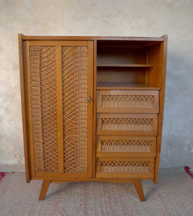 armoire, commode, penderie, rotin, osier, pieds compas, années 60