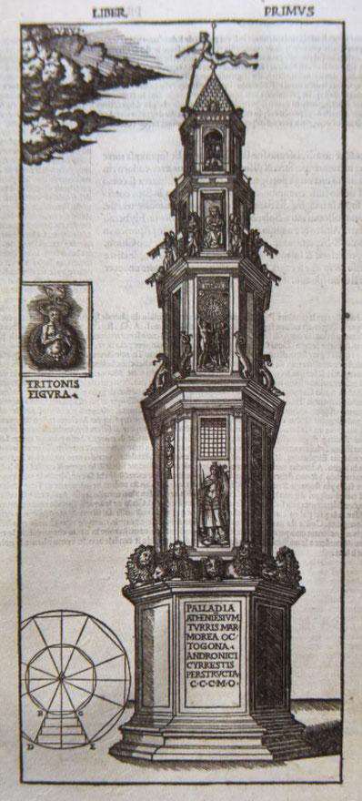Fig. 8 - Rappresentazione della Torre dei Venti eretta ad Atene da Andorico Cireste, trattata dal De architectura, Cesare Cesariano 1521 volume a stampa, Milano