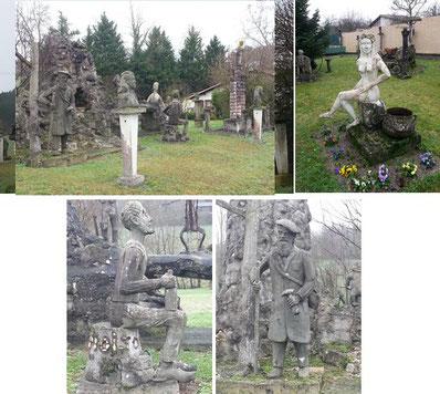 Rangée de sculptures bordant la route / Madame Favreau / Le cantonnier / Mr Brun le cueilleur de champignons