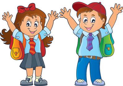 Kinder, die sich auf die Schule freuen