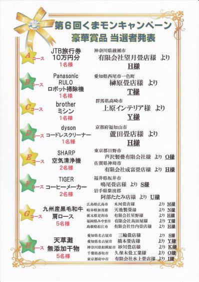 熊本県産畳 キャンペーン当選者日野市